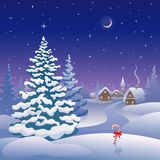 Christmas eve. Illustration of a a snow covered Christmas village Royalty Free Stock Images
