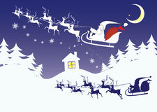 Christmas Eve landscape in a cartoon style Stock Images