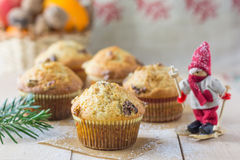 Christmas Eve muffins. Walnut muffins with cinnamon, cream and brown sugar - a seasonal treat for Christmas Eve Stock Photo