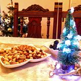 Christmas eve, Christmas and New Year. Christmas tree. Christmas and New year decorations. Holidays. Home. Christmes eve dinner Royalty Free Stock Image