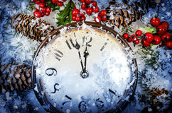 Christmas Eve and New Years at midnight Royalty Free Stock Photo
