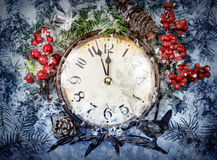 Christmas Eve and New Years at midnight Stock Images