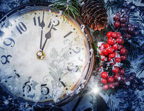 Christmas Eve and New Years at midnight Royalty Free Stock Images