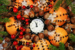 Christmas Eve and New Years at midnight stock photo