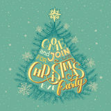 Christmas eve party invitation. Vintage Christmas eve party invitation hand-lettering Royalty Free Stock Images