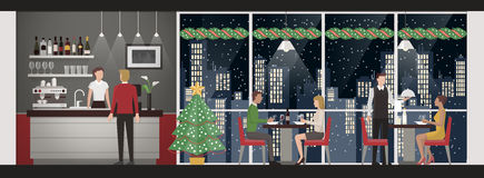 Christmas eve's dinner at the restaurant. People having a Christmas eve's dinner at the rooftop restaurant, skyline and snow on background, lifestyle and Stock Photography