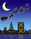Christmas Eve Santa. Illustration of a moonlit Christmas Eve with Santa's sleigh and reindeer in silhouette...against a city skyline vector illustration