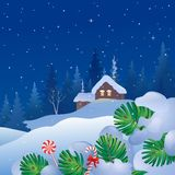 Christmas eve snowfall. Vector cartoon drawing of a snowy winter scene, Christmas eve square background vector illustration