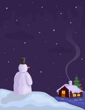 Christmas Eve with Snowman Royalty Free Stock Images