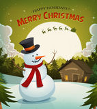 Christmas Eve With Snowman Background. Illustration of a cartoon winter snowman on christmas holidays background with santa claus character driving sleigh and Royalty Free Stock Photography