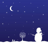 Christmas eve with snowman vector Royalty Free Stock Image