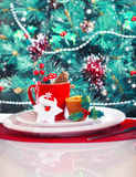 Christmas eve table decoration Stock Images