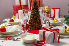Christmas Eve table ready for supper Royalty Free Stock Photos