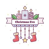 Christmas Eve. Vector illustration. Christmas Eve. Vector illustration of candles and stockings Stock Images