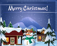 Christmas Eve in village. Illustration with small mountain village shortly before Christmas drawn in cartoon style vector illustration