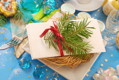 Christmas eve wafer on plate with hay Royalty Free Stock Image