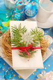 Christmas eve wafer on plate with hay Stock Photo