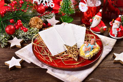 Christmas eve wafers on plate with hay Royalty Free Stock Image