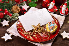 Christmas eve wafers on plate with hay Stock Images