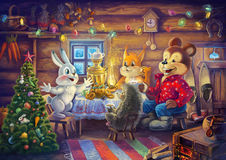 Christmas evening. Raster illustration. Guests attending a house rabbit: bear, hedgehog and squirrel, drink tea with honey and eat cakes, sweets Stock Image