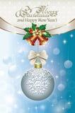Christmas evening ball on gold pendants. Christmas evening ball on golden pendant on a decorative background Stock Photo