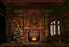 Christmas Evening. Illsutartion of a nice room with christmas decoration Royalty Free Stock Photo