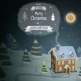 Christmas evening landscape vector illustration Stock Photos