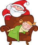 Christmas evening.Santa with sleeping girl Royalty Free Stock Photography