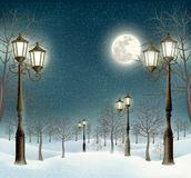 Christmas Evening Winter Landscape With Lampposts. Royalty Free Stock Photography