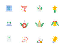 Christmas events symbols flat color icons. Set of flat colorful icons and signs for Christmas and New Year party. Decor and celebration. Elements of web design Stock Photo