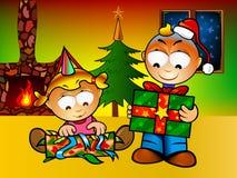 Christmas for ever. Kids opening present for Cristmas stock illustration
