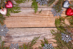 Christmas evergreen branches frame Royalty Free Stock Image