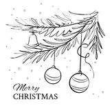 Christmas evergreen spruce tree. With glass ball on snow background. Vector illustration Stock Photos