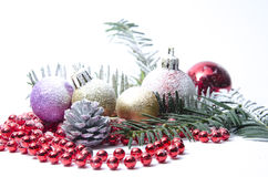 Christmas evergreen spruce tree, glass ball and snow Stock Image