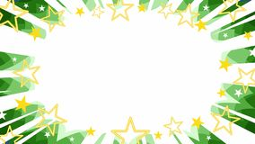 Christmas starburst background in green with stars. Christmas evergreen starburst flash background panel with manga-style rays, gold stars in outline and filled vector illustration