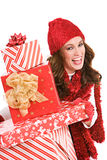 Christmas: Excited For Christmas Gifts Royalty Free Stock Photos