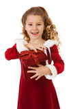 Christmas: Excited Santa Girl With Special Box Royalty Free Stock Photos