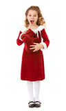 Christmas: Excited Santa Girl With Special Box Royalty Free Stock Images