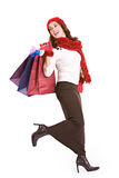 Christmas: Excited Shopper with Shopping Bags Stock Photo