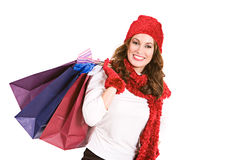 Christmas: Excited Shopper with Shopping Bags Royalty Free Stock Image