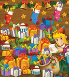 The christmas exercise - book page - task for the children Stock Photos