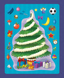 The christmas exercise - christmas tree - illustration and work page for the children Stock Image
