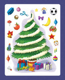 The christmas exercise - christmas tree - illustration and work page for the children Stock Photo