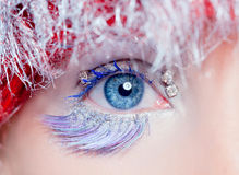 Christmas eye makeup winter red silver macro Royalty Free Stock Images