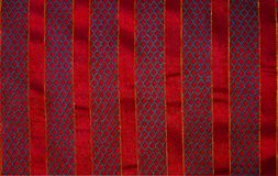 Christmas Fabric Background Red Stripes Embroidered Stock Photos