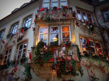 Christmas facade.Strasbourg. Facade with Christmas decorations in Strasbourg old town royalty free stock photo