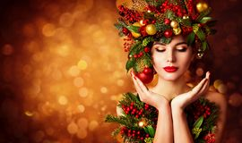Christmas Face and Hands Skin Care, Woman Beauty Makeup, Art Wreath Hairstyle, Xmas Beautiful Portrait