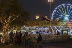 Christmas fair with amusement rides