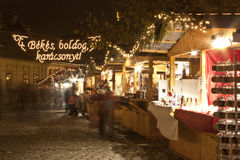 Christmas fair in Budapest. Christmas fair on the Szentlelek square in Obuda in Budapest Stock Image