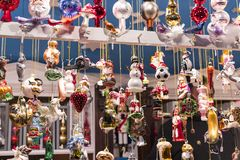 Christmas fair in the center of Munich with New Years and souvenirs for tourists city residents. stock photography
